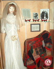 Wedding dress on display.